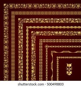 Golden corner borders and frames - vector set