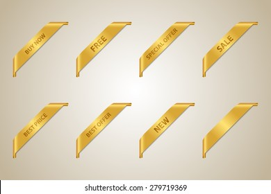 Golden Corner Ribbon Set (Best Offer - Sale - Fee - Best Price - Buy Now - New - Special Offer) - Vector Design Element