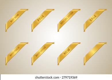 Golden Corner Ribbon Set (Best Offer - Sale - Fee - Best Price - Buy Now - New - Special Offer) - Vector Design Element