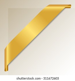 Golden Corner Ribbon - Vector Design Element