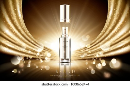 Golden cosmetic ads, elegant silver spray bottle with sparkling gold satin and particle bokeh background in 3d illustration