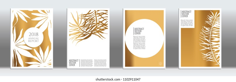 Golden cover set. Minimal flyer on light background.  Liquid design. Brochure template design. Golden backdrop. Stylish vector cover design.  Abstract gradient retro texture.