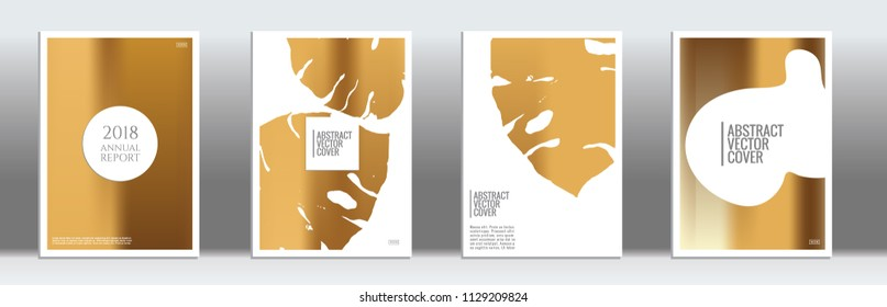 Golden cover set. Minimal flyer on light background.  Fluid poster design.  Brochure template design. Golden backdrop. Stylish vector cover design.  Abstract gradient retro texture.