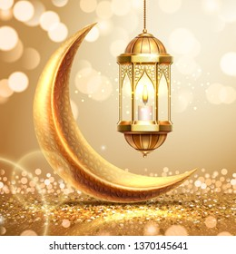 Golden crescent and lantern on ramadan greeting card. Ramazan mubarak or kareem background for arabic holiday. Al-adha and hari raya celebration. Islamic month. Religion poster. Quran theme