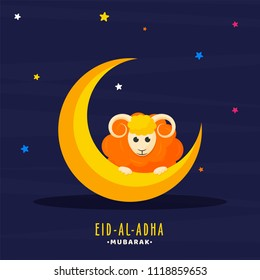 Golden crescent moon and sheep on colorful stars decorated blue background for Muslim community festival of sacrifice, Eid-Al-Adha mubarak celebrations.