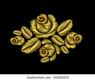Golden crewel roses embroidery fashion hand drawn  thread yarn fiber filament illustration gold flower vector patch traditional background decoration ornament floral