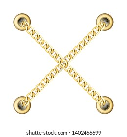 Golden Cross Chains with Metal Eyelets Pattern.