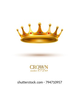 Golden crown 3d royal queen monarch king emperor tsar symbol realistic vector luxury VIP jewelry ruby, sapphire. Isolated illustration white background. Success, authority business leadership emblem