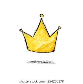 Golden crown in comic style in vector.