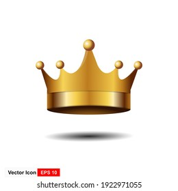 Golden Crown With Gradient Mesh, Vector Illustration