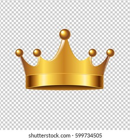 Golden Crown With Gradient Mesh, Vector Illustration