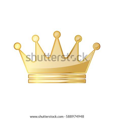 Golden Crown Icon Vector Illustration Golden Stock Vector Royalty