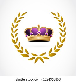 golden crown inside a laurel. illustration design isolated over a white background.