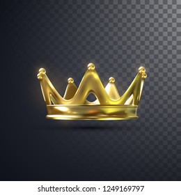 Golden crown isolated on transparent background. Realistic vector illustration. Monarchy sign. Royal symbol