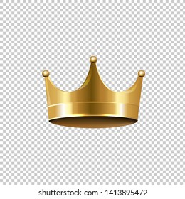 Golden Crown Isolated Transparent Background, Vector Illustration