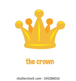 Golden crown logo, cartoon flat style, isolated color vector art illustration icon.