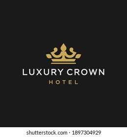 golden crown logo icon. King queen symbol elegant logo vector icon line, Luxurious royal ornament for business