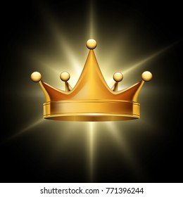 Golden crown on abstract glowing background,  vector design