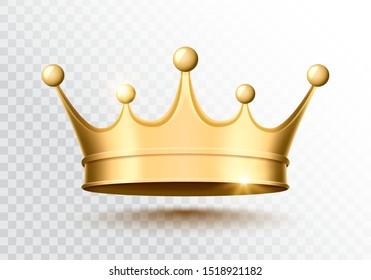 Golden crown on a transparent background. Vector illustration.
