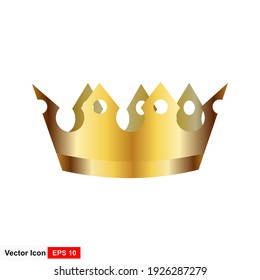 Golden crown on a white background. Vector illustration.