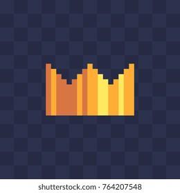 Golden crown. Pixel art icon. Flat style. 8-bit. Sticker design. Isolated vector illustration.