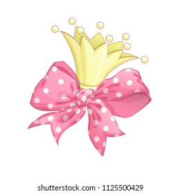 The golden crown of a princess and a beautiful pink bow with a polka-dot pattern. Vector cartoon elements for festive decor and greeting card.