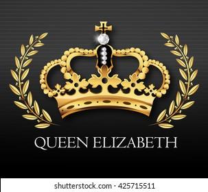 Golden crown with Queen Elizabeth text , vector