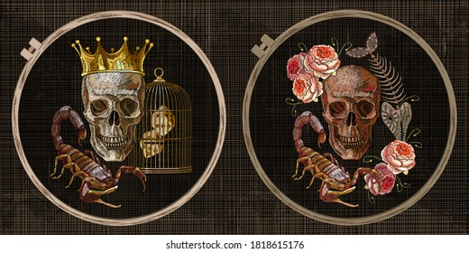 Golden crown, roses, skull, skeleton of fish and scorpion. Gothic romanntic embroidery collection. Template tambour frame with a canvas, elements from stitches. Art for clothes