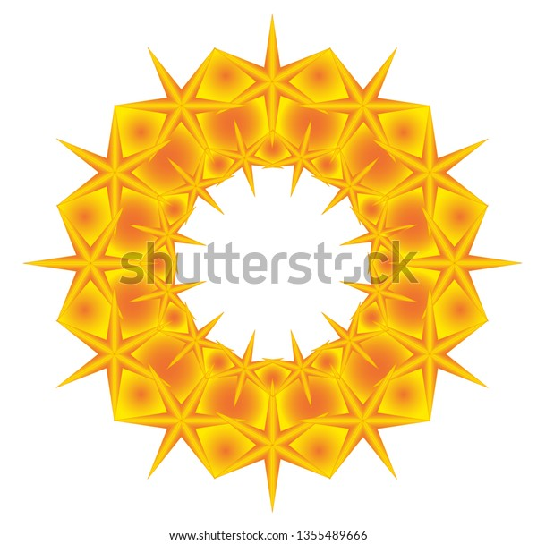 Golden crown with six-pointed stars formed by joined stars in two sizes.