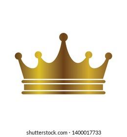 Golden Crown symbol icon logo illustration