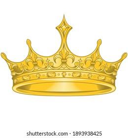 Golden crown vector design, with royal fleur de lis, easy to change color