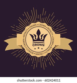 Golden crown vector. Line art logo design. Vintage royal symbol of power and wealth. Curved ribbon for text. Rays of glory and stars. Creative business sign. Elegant emblem.