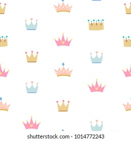 Golden crowns on pink background seamless pattern