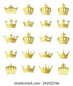 Golden crowns - set of vector gold crown symbols