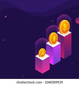 Golden cryptocoins on podium, purple background.