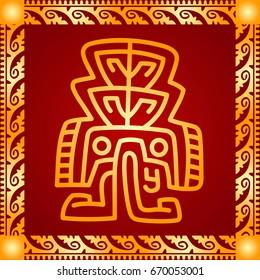 Golden cultural ornaments of American Indians and Aztec