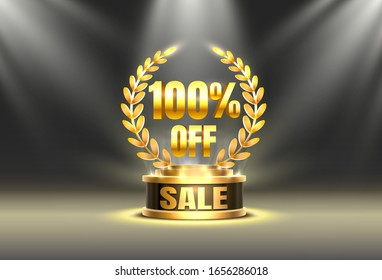 Golden cup 100 off, sale banner. Night Sign. Vector illustration