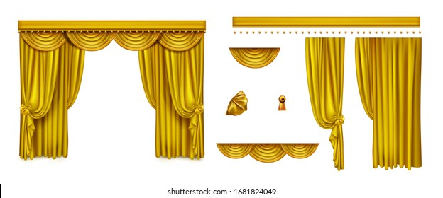 Golden curtains for theater stage or cinema. Vector realistic set of luxury decoration elements for opera or comedy show interior, vintage silk drapery isolated on white background
