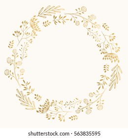 Golden cute round frame. Vector wreath with herbs and leaves.