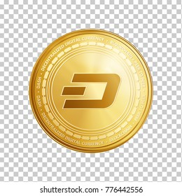 Golden dash coin. Crypto currency blockchain coin dash symbol isolated on trnsparent background. Realistic vector illustration.