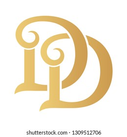 Golden DD monogram isolated in white.