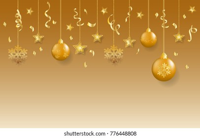 Golden decoration, Christmas background, vector