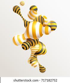 Golden decorative balls. Abstract vector illustration.