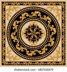 Golden decorative baroque pattern gold spheres on black background.EPS10 Illustration.