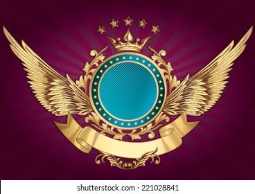 Golden decorative emblem