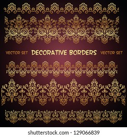 Golden decorative floral borders. Can be used for backgrounds, packaging, invitations,vintage cards, wrapping paper. Vintage design seamless elements