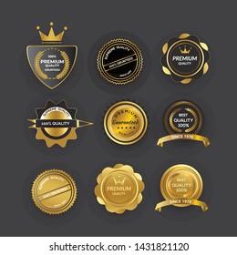 Golden design badge elements - shields, labels, seals, banners, badges, scrolls and ornaments