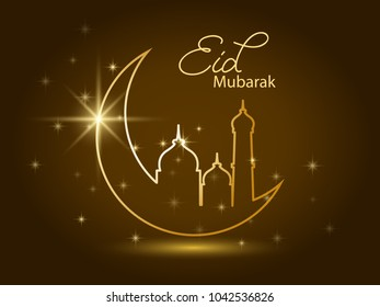 golden design decorated crescent moon and mosque with calligraphy of text Eid Mubarak on brown background. Ramadan kareem greeting card, banner, cover or poster