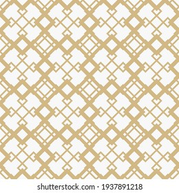 Golden diamond grid vector seamless pattern. Abstract geometric texture with diagonal lines, rhombuses, squares, mesh, lattice, grill. Simple gold and white background. Luxury repeat decorative design