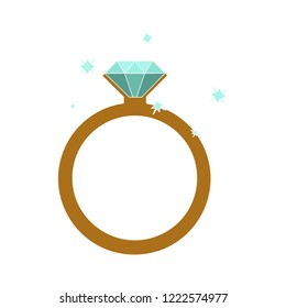 golden with diamond wedding engagement ring icon - crystal jewelery illustration isolated.